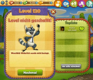 Farm Heroes Saga Level 120 Waschbär Widerlich