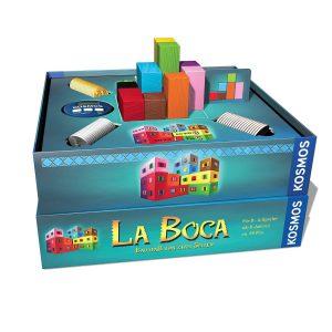 Bei La Boca sieht jeder Spieler auf der Aufgabenkarte nur seine Seite des Gebäudes.