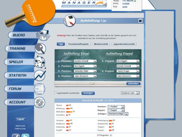 Tischtennis Manager Screenshot 1