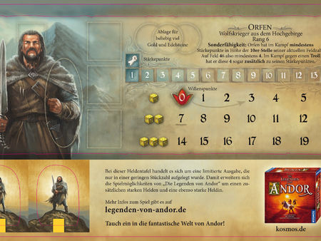 Die Legenden von Andor: Orfen-Heldentafel